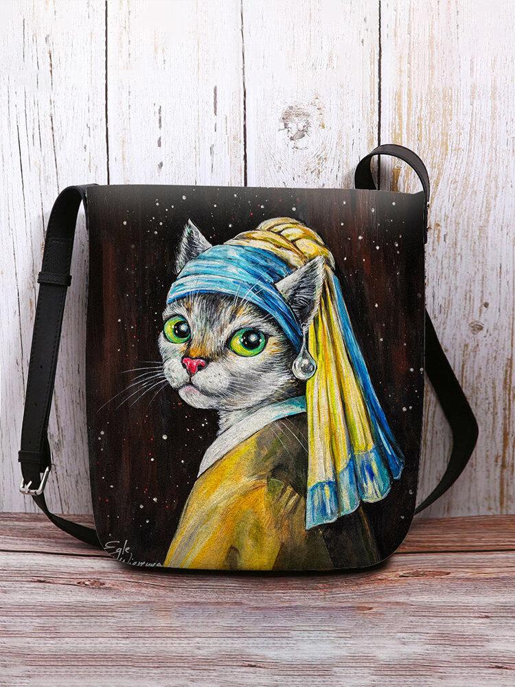Women Cat With a Pearl Earring Pattern Print Crossbody Bag Shoulder Bag