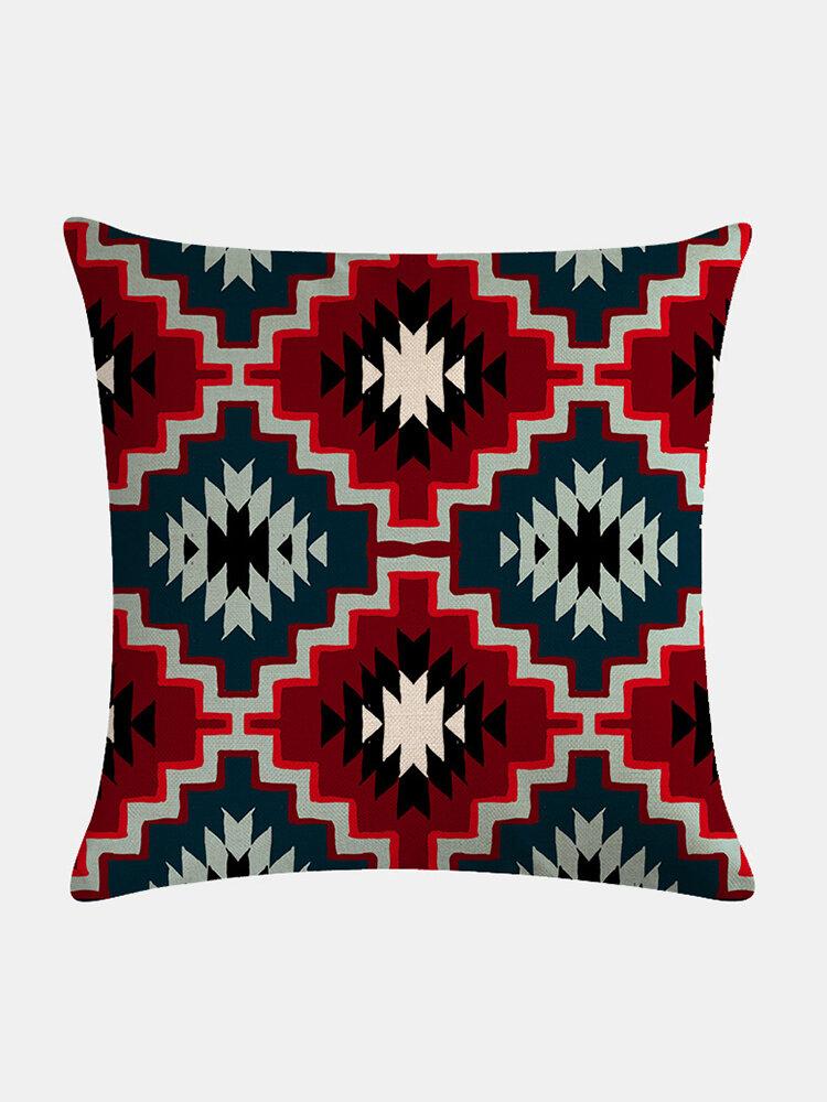 Bohemian Plaid Geometric Pattern Linen Cushion Cover Home Sofa Art Decor Throw Pillowcase