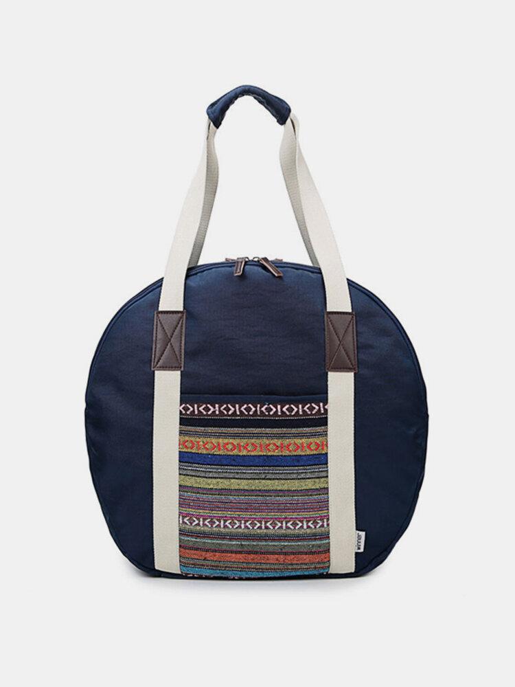 Women National Style Canvas Stripe Travel Bag Luggage Bag  Hobo Handbag