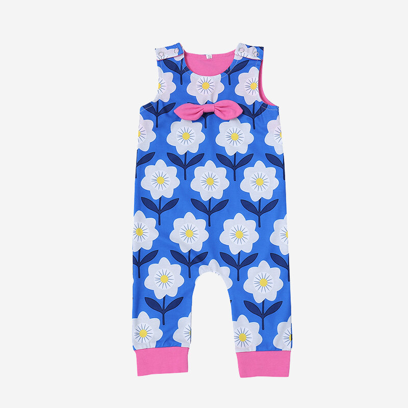 Baby Floral Print Sleeveless Casual Blue Rompers For 6-24M