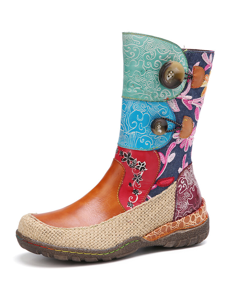 SOCOFY Floral Embossed Leather Splicing Linen Woven Round Toe Wearable Sole Flat Short Boots