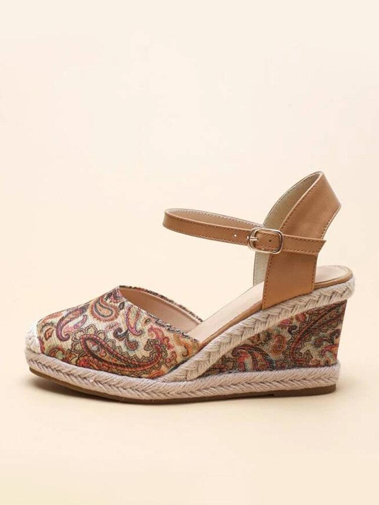 Women Retro Printing Cloth Closed Toe Buckle Strap Espadrilles Wedges Sandals