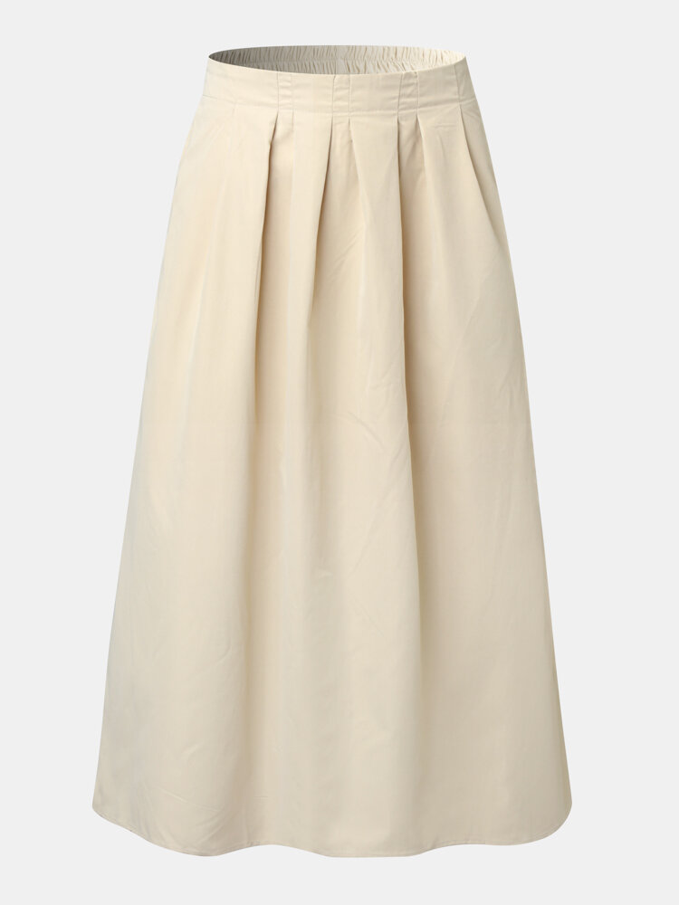 Solid Color Elastic Waist Plus Size Casual Skirt with Pockets