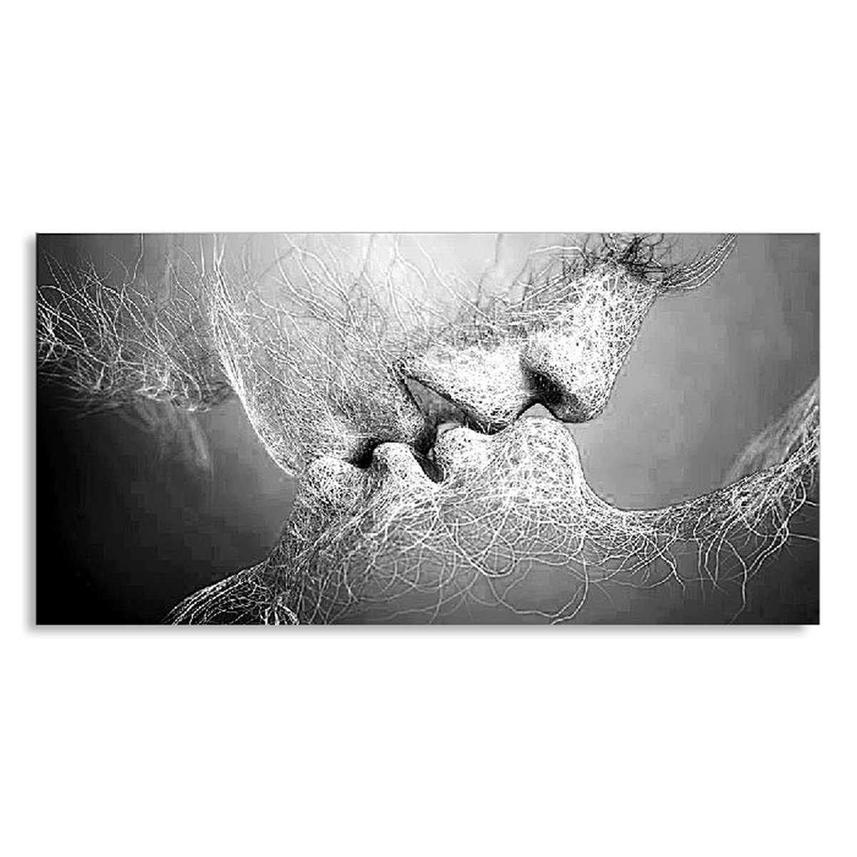 Kiss Abstract No Frame Canvas Painting Grey Home Bedroom Wall Art Deco