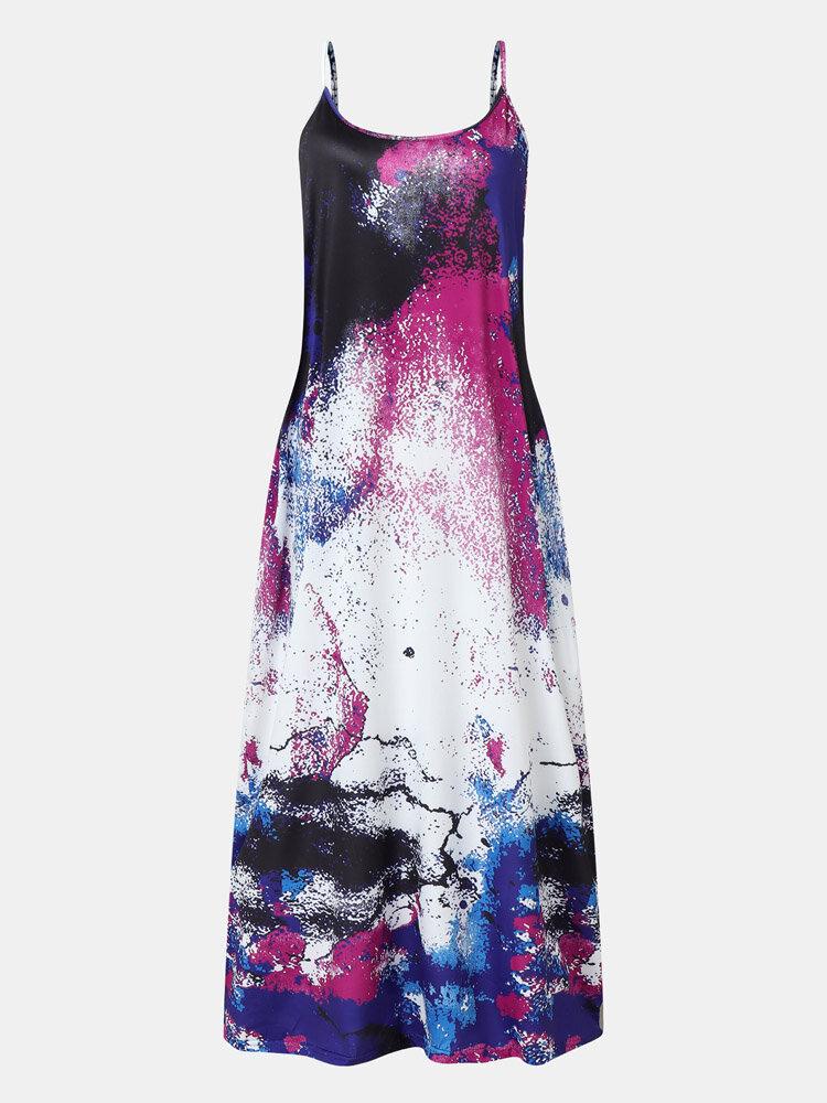 Adjustable Strap Pocket Floral Print Women Maxi Dress