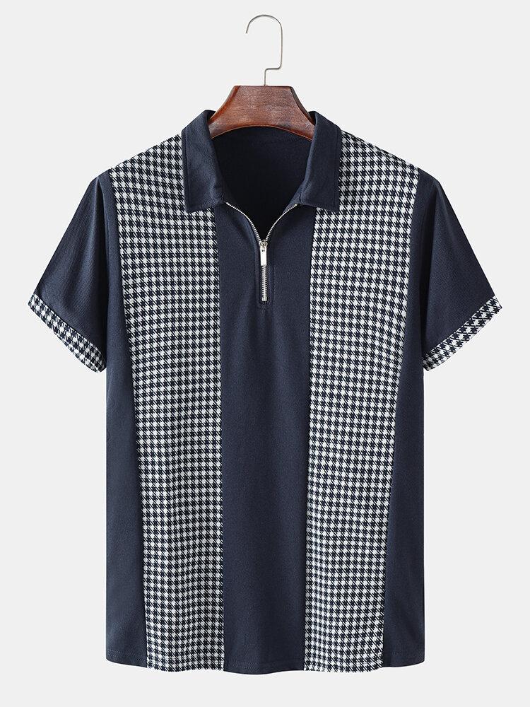 Mens Houndstooth Patchwork Woven Short Sleeve Golf Shirt