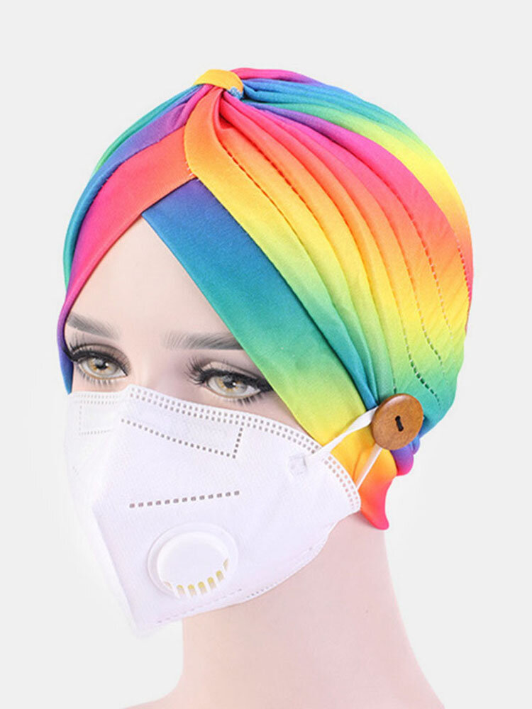 Printed Multi-colored Beanie National Style Button Mountable Ears Prevent Strangulation