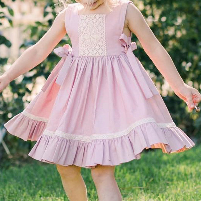 Lace Bow-knot Girls Pleated Casual Dress For 1-5Years