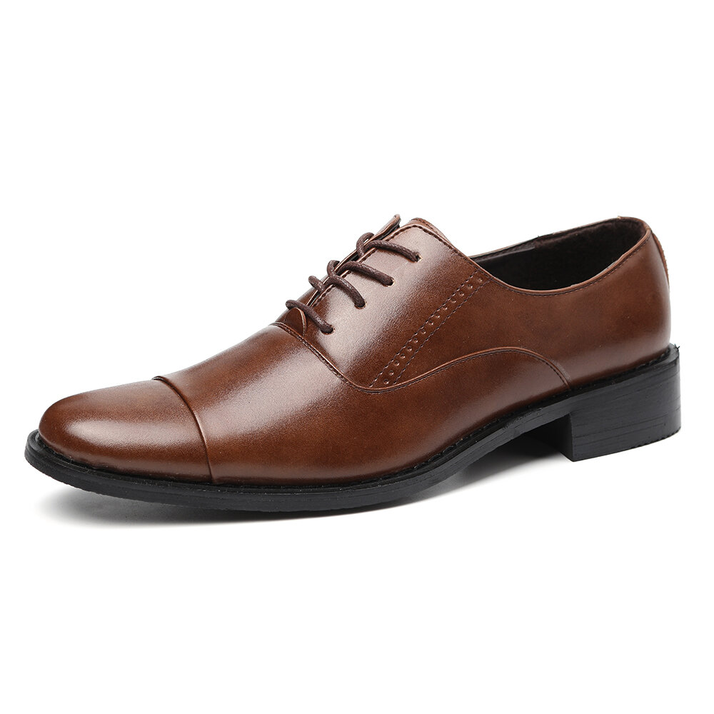 Men Classic Cap Toe Comfy Lace Up Business Formal Casual Shoes