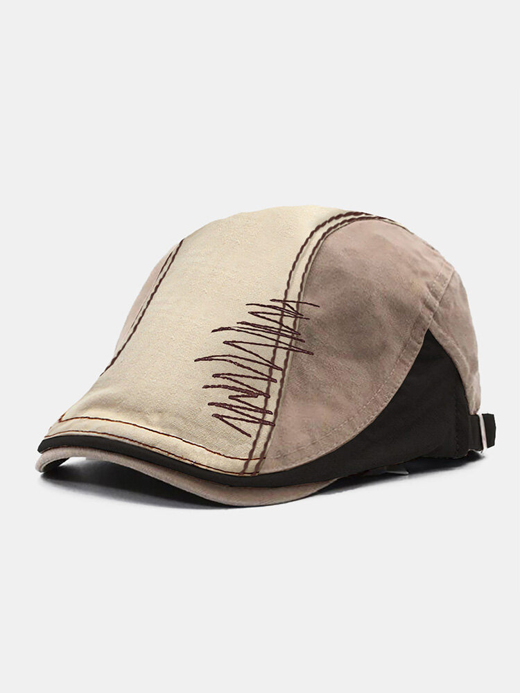 Collrown Men Polyester Cotton Color-match Patchwork Embroidery Thread Casual Beret Flat Cap