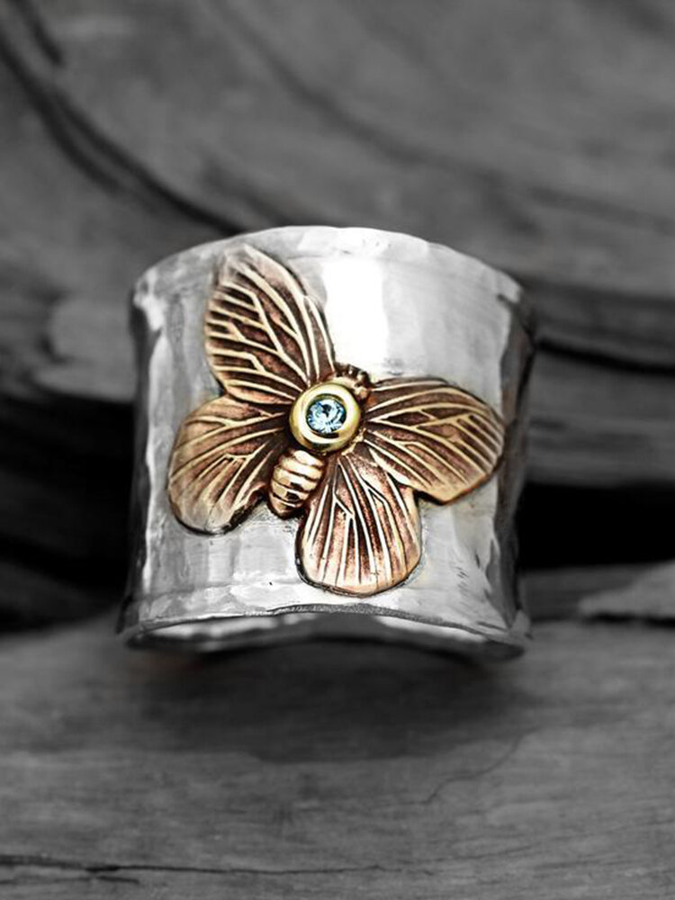Vintage Alloy Carved Women Ring Two-Color Butterfly Ring Jewelry Gift