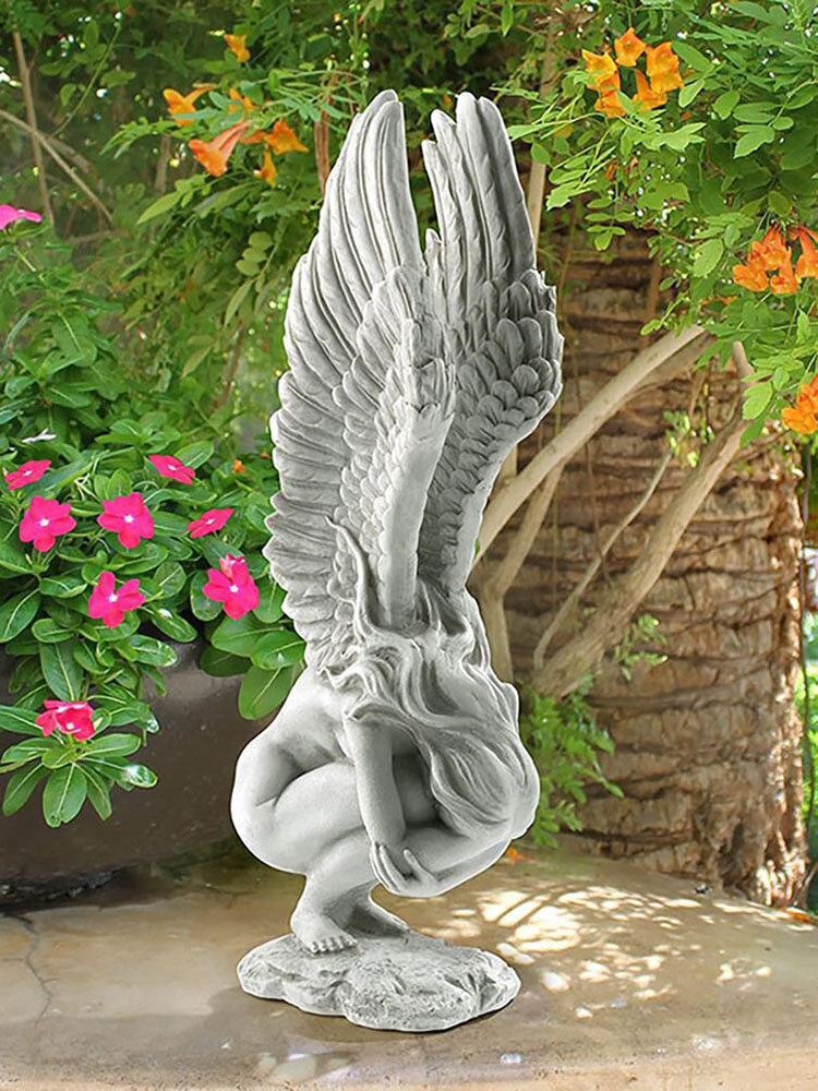 1 PC Resin Vintage Hold Legs Angel Memorial Redemption Statue Handicraft Angel Wings Sculpture Outdoor Garden Figurine Crafts Decoration