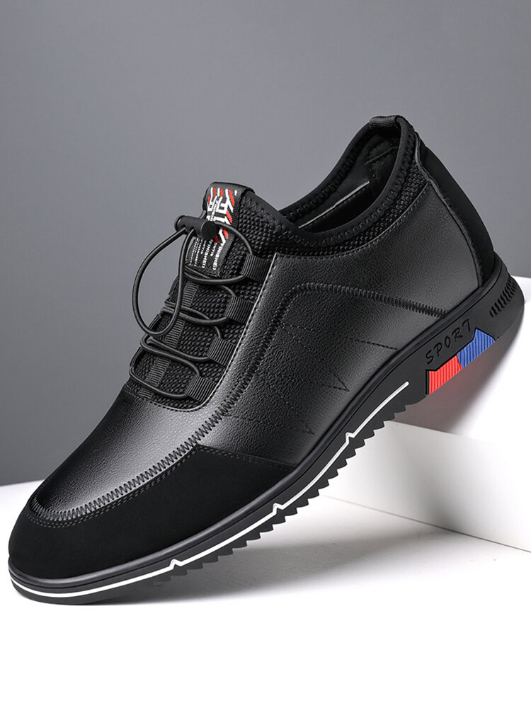 Men Cow Leather Splicing Non Slip Soft Sole Business Casual Shoes