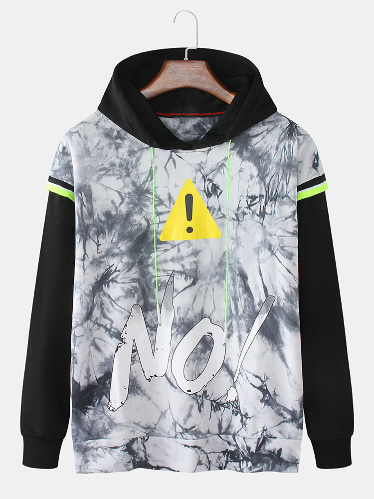 Mens Cotton No Printing Faux Twinset Loose Pullover Hoodie