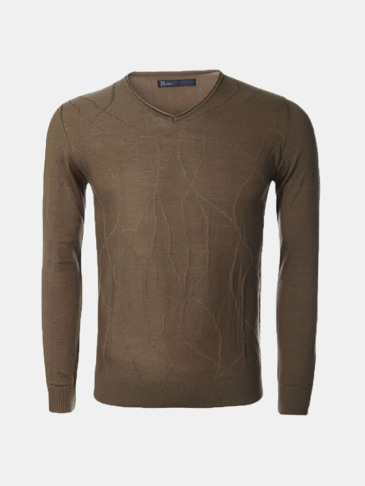 Casual Fashion Thick Woolen Solid Color V-Neck Slim Fit Knitted Sweater For Men