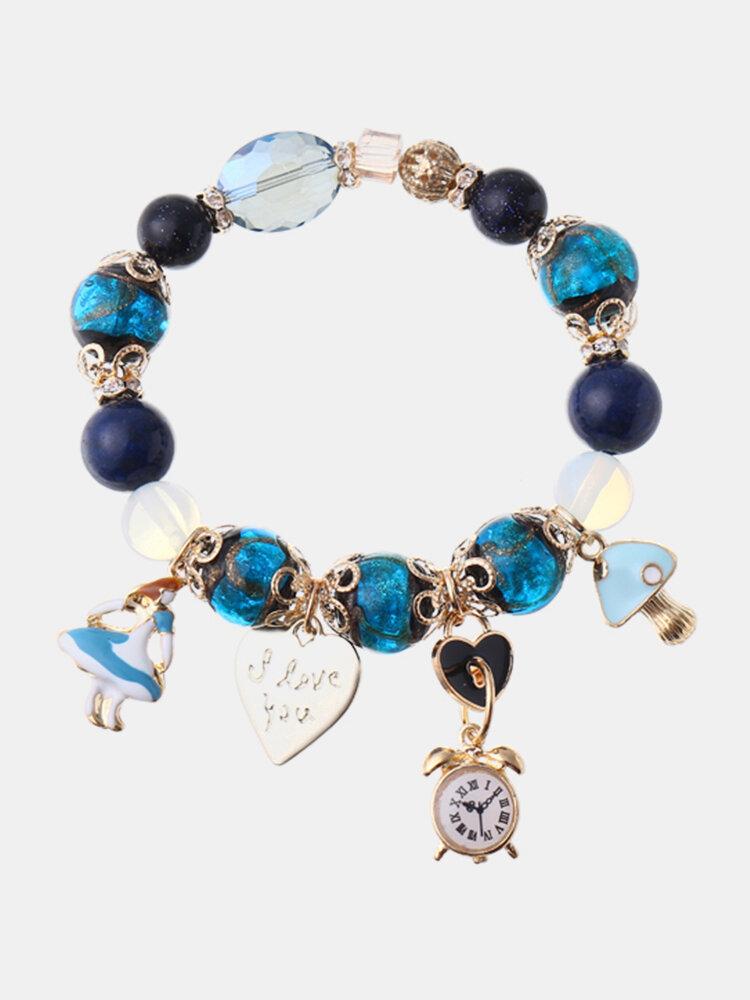 Bohemia Crystal Glass Beaded Bracelets Girl Heart Clock Charm  Bangles Hand Chain for Women