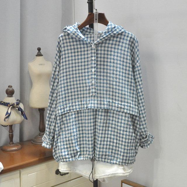 Small Fresh Fashion 19 Seasons New Simple Lattice Hooded Loose Wild Casual Shirt Sunscreen Shirt 4402