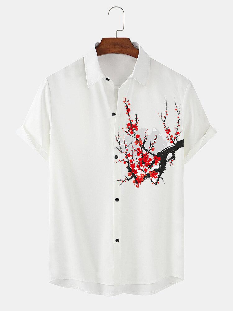 メンズレッドプラムブロッサムプリントチャイニーズスタイル半袖シャツ