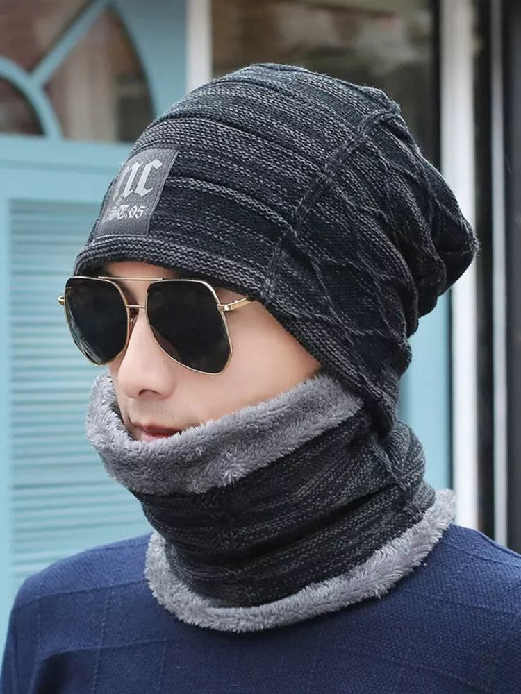NC Logo Winter Wool Warm Knit Hat Casual Beanie Hat Two-Piece Suit With Circle Scarf