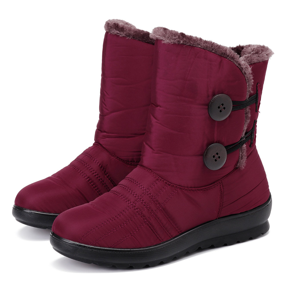 Women Winter Waterproof Cloth Plush Lined Soft Buckle Snow Boots