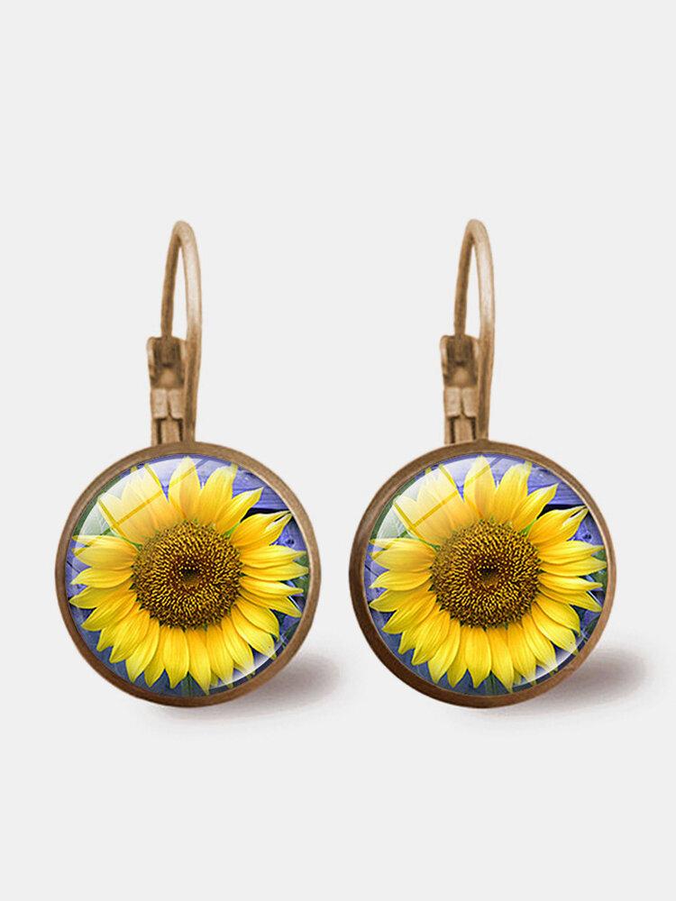 Bohemian Geometric Round Pendant Earrings Metal Glass Gem Sunflower Women Earrings Jewelry