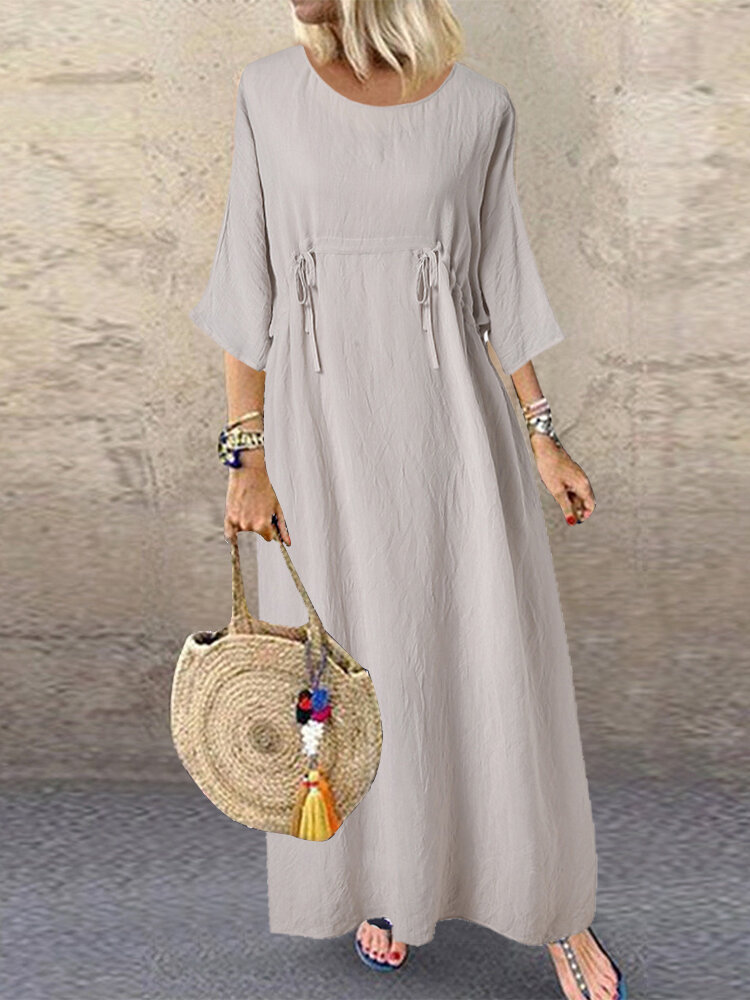 Two Pieces Drawstring Solid Color O-Neck Maxi Dress