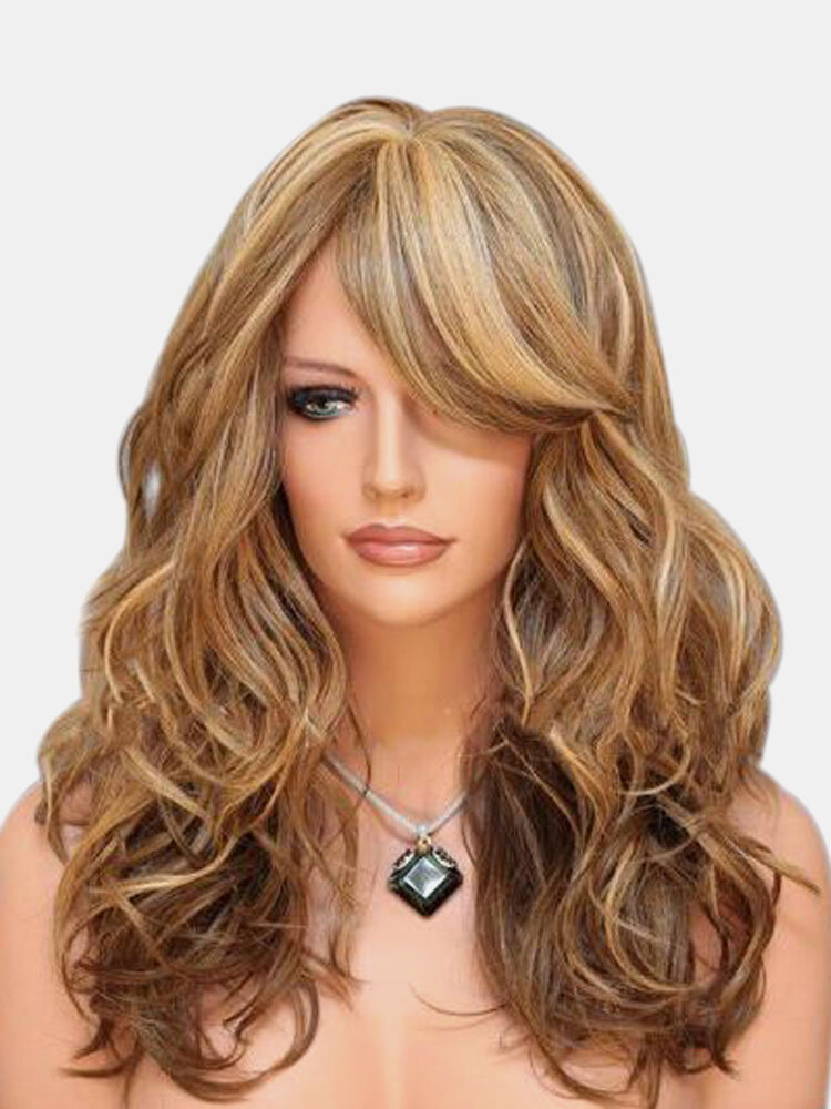 Brown Blonde Long Wave Fluffy Synthetic Wig High Temperature Fiber Hair For Women