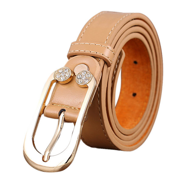Women Leather Belt Diamond Decorative Thin Skinny Waistband
