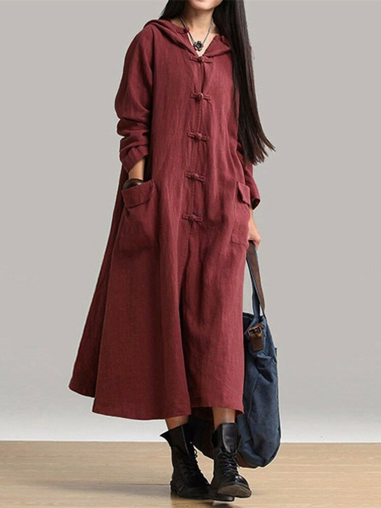 Vintage Frog Button Long Sleeve Hooded Maxi Coat Dresses