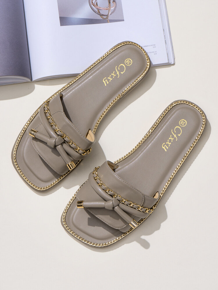 Women Casual Comfy Knotted Metal Chain Slides Slippers