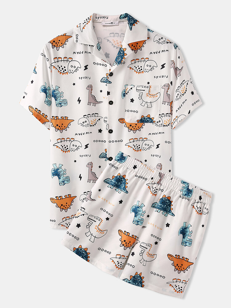 Cute Dinosaur Cartoon Print Loungewear Sets Two Pieces Summer Loose Cozy Suits for Men