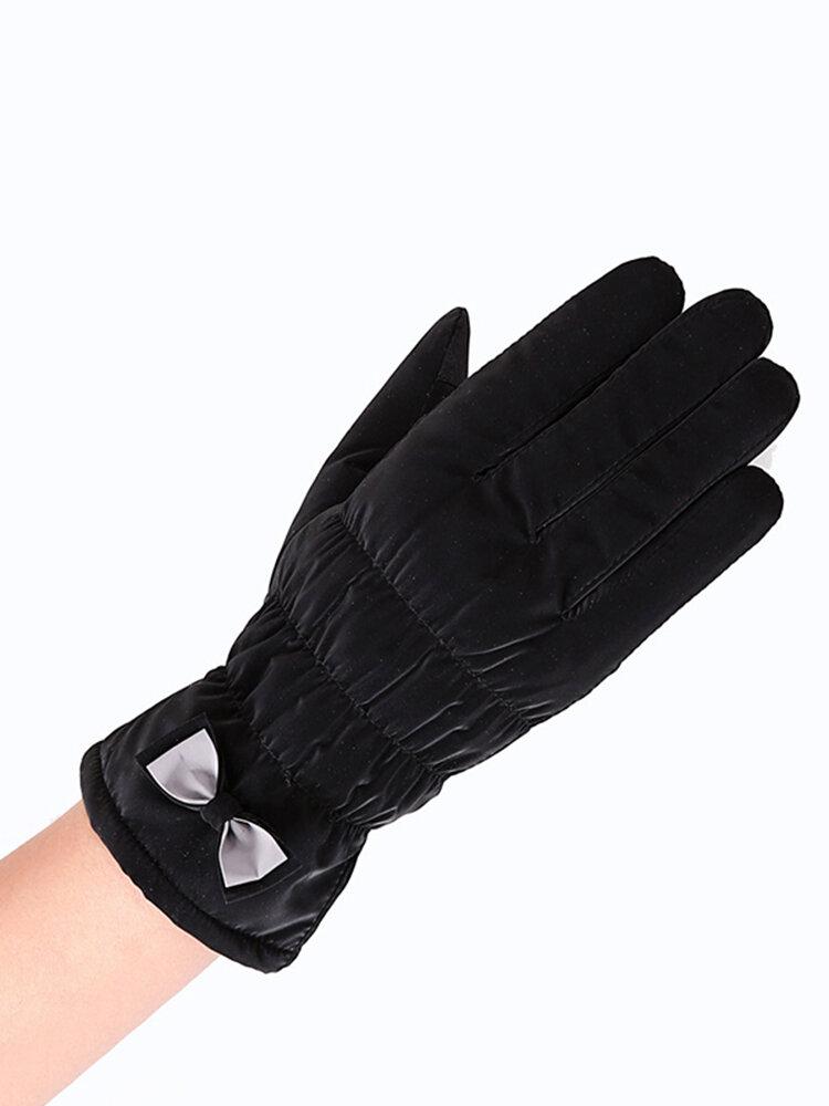 Sports de plein air d'hiver gants chauds à écran tactile coupe-vent femmes noeud papillon gants en peluche