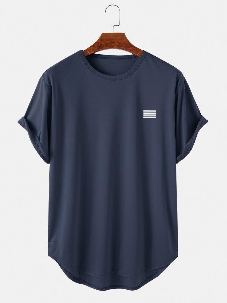 メンズプレーンストライプハイローカーブヘムスポーツ半袖Tシャツ