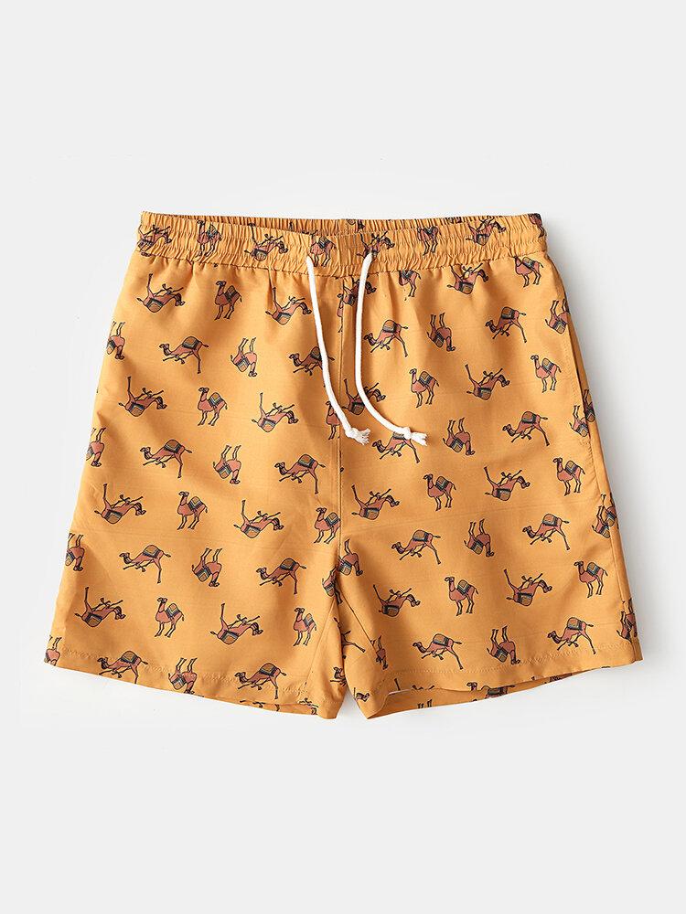Camel Pattern Print Mid Length Shorts Lightweight Quick Dry Summer Hawaii Holiday Swim Shorts for Men