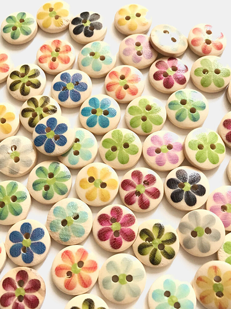 100 pcs Cute 15mm Printed Flowers Wooden Buttons Children's Clothing Accessories Buttons