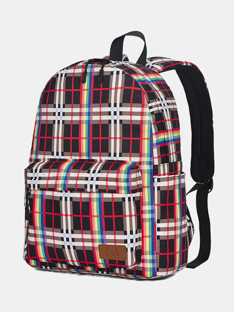 Oxford Stylish Lattice Print Pattern Lightweight Wearable Anti-Scratch Antifouling Breathable Soft 14 Inch Backpack