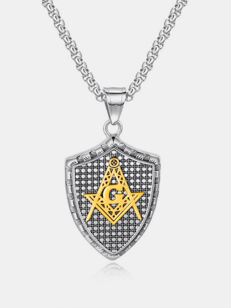 Fashion Pendant Necklace Geometric Shield Stainless Steel Chain Charm Necklace Jewelry for Men
