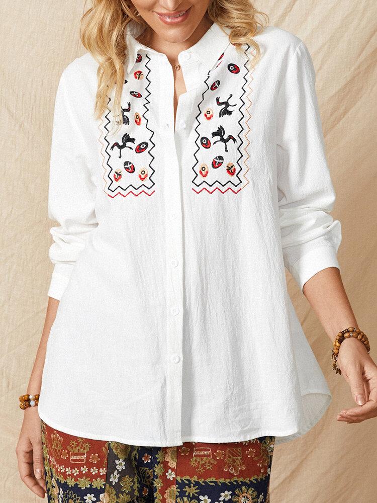 Повседневная хлопковая блузка с длинными рукавами и пуговицами с этнической вышивкой Женское Рубашка