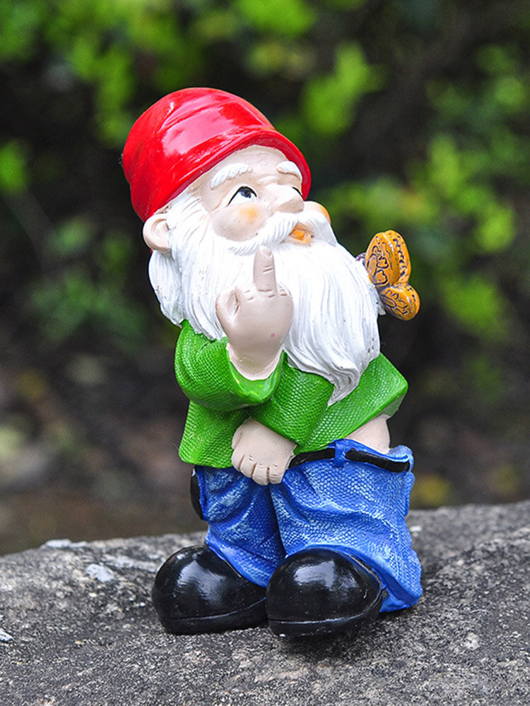 1PC Resin Gnome Dwarf Provocative White Beard Statues Holding Milddle Finger Butterfly Lawn Decorations Indoor Outdoor Christmas Garden Ornament
