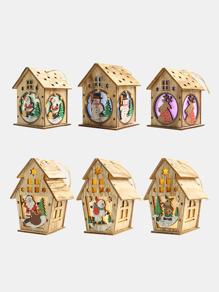 1Pc Christmas Wooden Christmas Lighted Wooden Cabin Creative Assembly Small House Decoration Luminous Colored Cabin