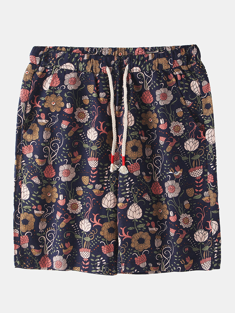 Mens Ethnic Style Floral Print Breathable Light Casual Drawstring Shorts