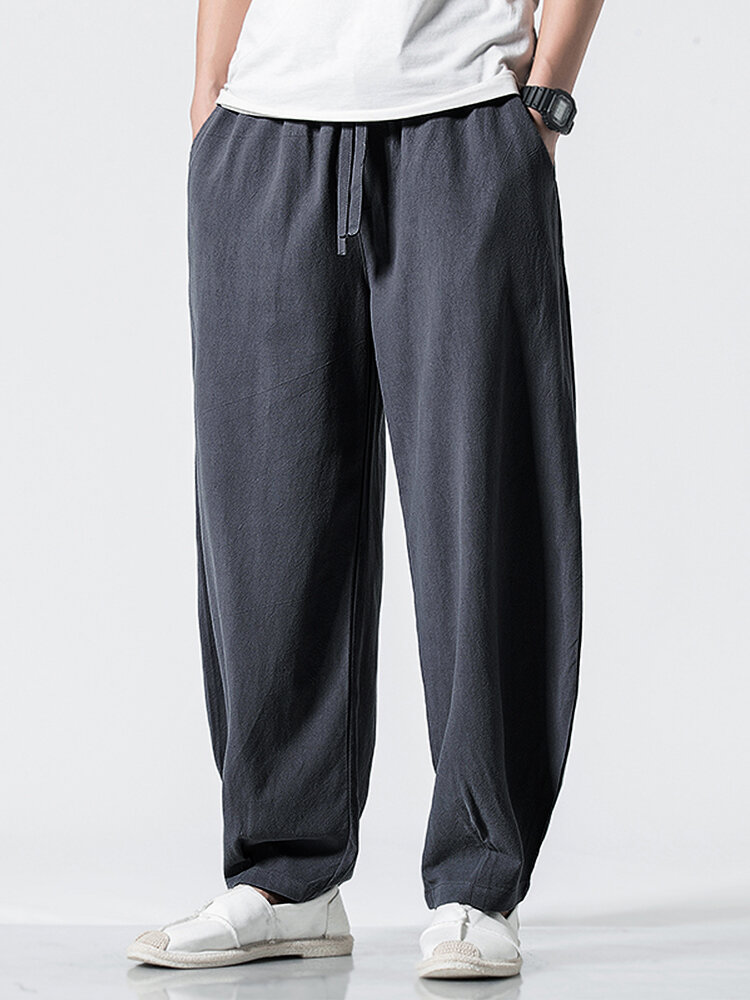 Mens Solid Color Casual Breathable Loose Drawstring Waist Harem Pants