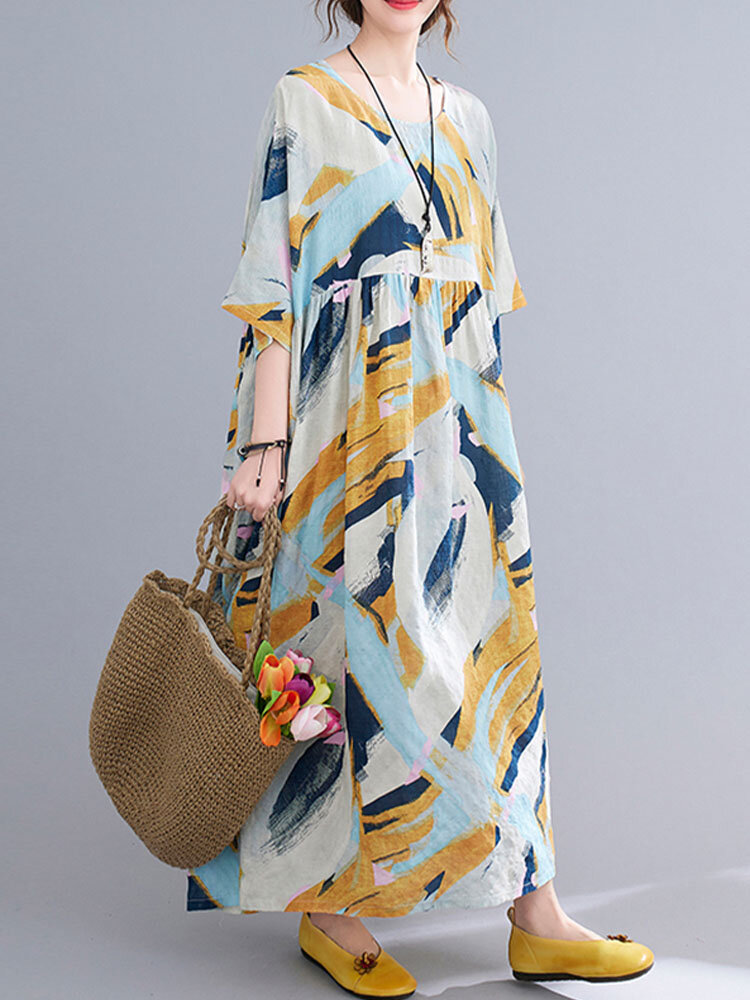 Abstract Painted Loose O-neck Half Sleeve Women Vintage Dress