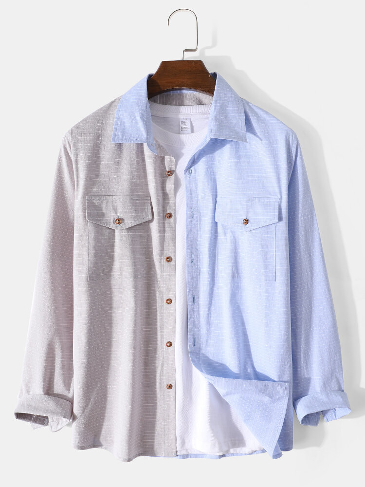 Mens Patchwork Striped Lapel Cotton Long Sleeve Shirts With Flap Pocket