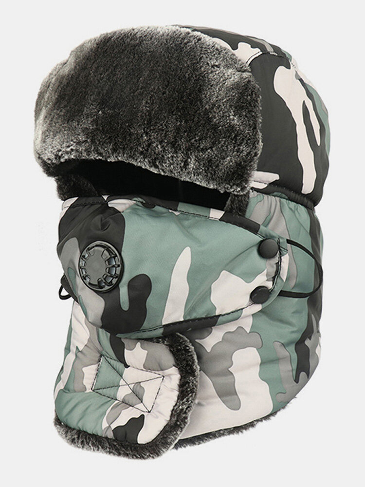 Men Cold-proof Winter Camouflage Pattern Trapper Hat Thick Winter Hat Ear Protection With Mask Trapper Hat