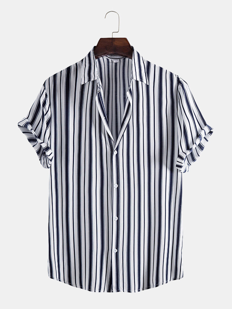 Mens Striped Short Sleeve Lapel Button Up Casual Shirt