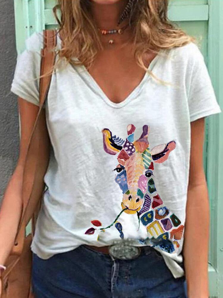 Kurzarm-T-Shirt mit V-Ausschnitt und Giraffenmuster für Damen