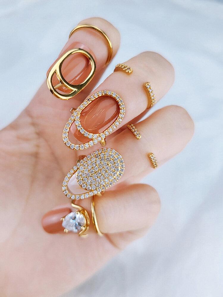 Elegant Opening Diamond Nail Ring Tail Ring