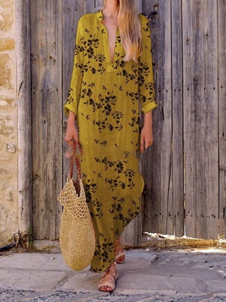 Floral_Print_Irregular_Long_Sleeve_Maxi_Dress_For_Women
