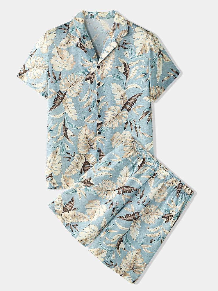 Men Tropical Leaves Print Loungewear Two Pieces Faux Silk Pajamas Lapeal Collar Thin Sleepwear